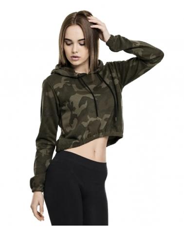 Sweatshirt à capuche kaki Femme URBAN CLASSICS