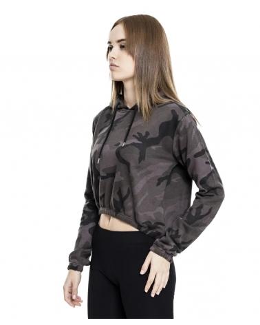 Sweatshirt à capuche Femme Black camo URBAN CLASSICS