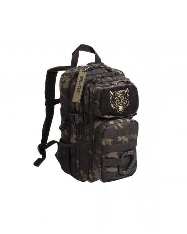 sac à dos militaire enfant MIL-TEC US Assault Kids Multitarn® noir avec tête de tigre brodée