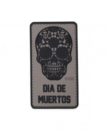 """Morale Patch PVC """"Dia de Muertos"""" gris"""