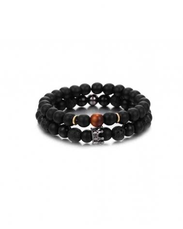 Set noir 2 Bracelets Crown