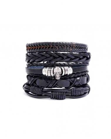 Set noir 5 Bracelets Skull