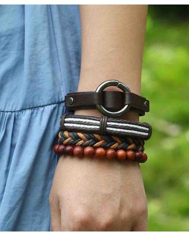 Set marron 4 Bracelets