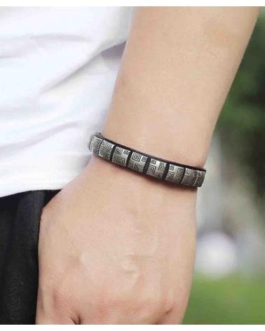 Bracelet Tribal Géométrique noir